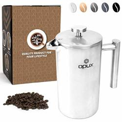 OPUX Premium Insulated Double Wall French Press 4 Cup Stainless Steel Coffee Press With 4 Layer Filtration System For Pour Over Espresso 34 Fl Oz Stainless Steel