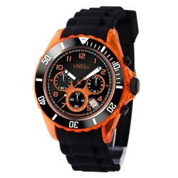 TIME100 Teenager Silicone Strap Sport Watch Fashion Multifunctional Environmental Watches Black&orange