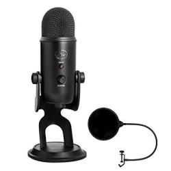 Blue Microphones USB Microphone Four Pattern Yetiblackout With Pop Shield Universal Pop Filter Microphone Wind Screen With MIC Stand Clip