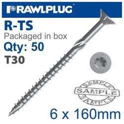 RawlPlug Torx T30 Chipboard Screw 6.0X160MM X50-BOX