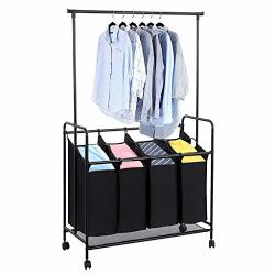 4-BAG Laundry Sorter With Hanging Bar Mosunx Heavy Duty Laundry Sorting Trolley Cart With 4 Wheel Metal And Oxford Cloth Laundry Hamper Black 42.5 X 17.7 X 66.9 Inches