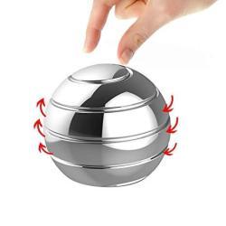 Manzelun Kinetic Desk Toys Full Body Optical Illusion Fidget Spinner Ball Gifts For Men Women Kids Silver