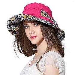 b20c5ee988c46 AOMUU Women Wide Brim Sun Hat Summer Outdoor Foldable Beach Cap Rose ...