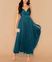 Surplice Neck Split Thigh Mesh Overlay Satin Formal Dress