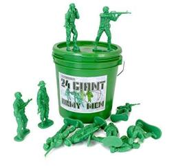 Well Pack Box 24 Giant Green Plastic Army Men Toy Soldiers Large 4.5 Tall Action Figures In Play Bucket Perfect For Boys Sandbox