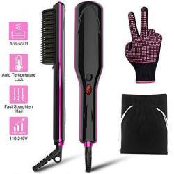 Hair Straightener Brush - Jurgen K Ionic Hair Straightening Brush With Anti-scald Auto Temperature Lock Auto-off And Mch Ceramic