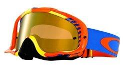Oakley Crowbar Mx Bio Hazard Goggles With Orange blue Print Frame White Frame fire Iridium Lens