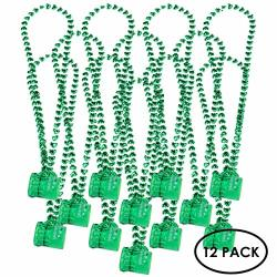 St Patrick's Day Beads Accessories Set Shamrock Necklace With Green Shot Glasses 12 Pack