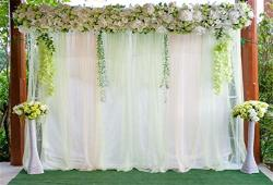 Leyiyi 10X6.5FT Wedding Ceremony Nature Park Backdrop Grassland Marriage Stage Curtain Floral Garland Arch Door Background Summe