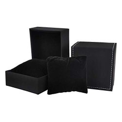 Isuperb 2 Pack Watch Box Single Slot Watch Case Pu Leather Wristwatch Display Case Organizer Travel Jewelry Storage Case For Men Women 2PK Small