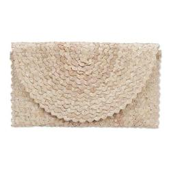 NOVICA Off White Ivory Hand Woven Palm Leaf Clutch Handbag 'trance In Ivory'