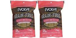 Evolve Grainfree Dog Treats: Salmon & Sweet Potato Jerky Bites 2 12 Ounce Pack Bundle