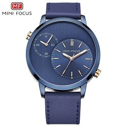 Fenkoo MINI Focus Watch Men's Watch dual Time Zone japanese Movement luminous Waterproof leather Strap 0035G Watch Color : 5