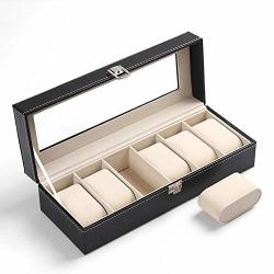 Feing Decorative-boxes 6 10 20 24 Grids Watch Display Case Pu Leather Storage Box Jewelry Organizer 6 Grids