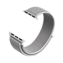White 42MM Soft Nylon Band With Hook And Loop Fastener For Apple Watch