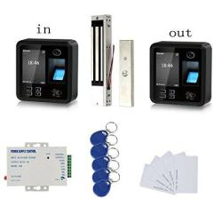 SecureControl Bio Fingerprint Track Both In And Out Access Control Kit 600LBS Electromagnetic Lock 110V Power Supply Rfid Keychians cards