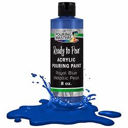 Pouring Masters Royal Blue Metallic Pearl Acrylic Ready To Pour Pouring Paint - Premium 8-OUNCE Pre-mixed Water-based - For Canvas Wood Paper Crafts Tile