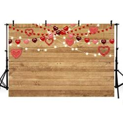 Mehofoto 8X6FT Princess Girl Baby Shower Photo Studio Background Wood Red Hearts Love Pattern Birthday Wedding Party Decoration Banner Backdrops For P