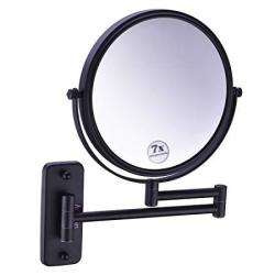 Anpean Wall Mounted Makeup Mirror 7X Magnification With 12-INCH Extension Cosmetic Mirror Matte Black