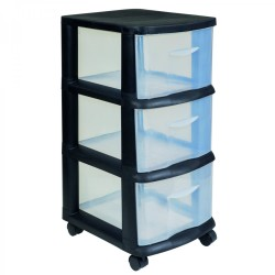 Addis 3 Drawer Storage Unit Black With Clear Drawers