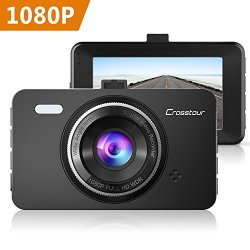Crosstour 1080P Car DVR Dashboard Camera Full HD with 3 LCD Screen 170/°Wide Angle Dash Cam G-Sensor WDR Loop Recording and Motion Detection CR300