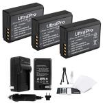 3-PACK LP-E10 High-capacity Replacement Batteries With Rapid Travel Charger For Select Canon Digital Cameras. Ultrapro Bundle In