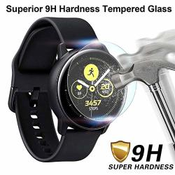 Aliturtle 1 Pack Tempered Glass Screen Protector Compatible With Samsung Galaxy Watch Active 2 44MM Oleophobic Coating Full Coverage Screen Protective Film Bubbles Free Anti Scratch & Fingerprint