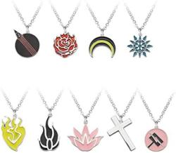 USA Hlzg 9 Pieces Anime Rwby Necklace Suits Game Cosplay Costume Pendant Sets