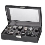 Sorbus 12 Slot Watch Box Black