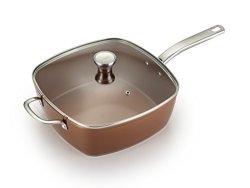 T-fal C41195 Saute Pan Square Pan With Lid Ceramic Nonstick Jumbo Cooker Cookware 6 Quart Copper