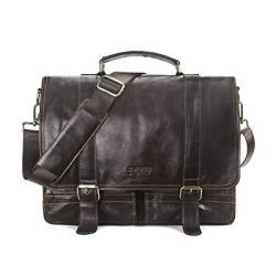 "Contacts Genuine Leather 14"" Mens Messenger Shoulder Bag Laptop Briefcase Dark Coffee"