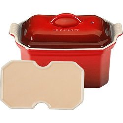Le Creuset Heritage Stoneware 3 4-QUART Pate Terrine With Press Cerise Cherry Red