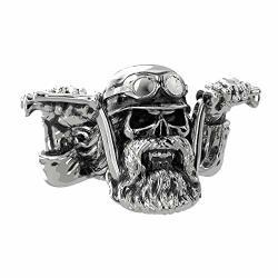 Eejart Stainless Steel Punk Bearded Skull Ring For Men Motorcycle Biker Domineering Punk Ring.