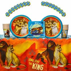 Table Cover Happy Birthday Banner Lion King Birthday Party Supplies Bundle for 16 includes Plates Stickers Napkins