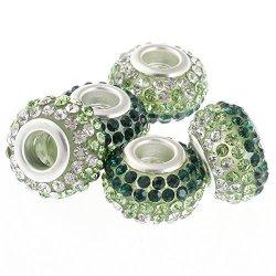 RUBYCA Big Hole Czech Crystal Large Charm Beads Fit European Bracelet 30PCS 15MM Green White