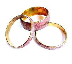 Yapree Handmade Bangle Bracelet Brass Metal With Floral Deisgn Gold And Lavender : Set Of 3