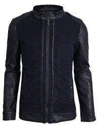 NE People Mens Premium Faux Leather Moto Jacket