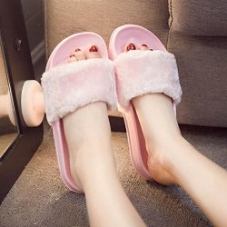 AMA TM Women Soft Plush Flat Slippers Winter Autumn Home Bedroom Slippers US:7.5 Pink