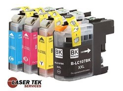 Laser Tek Services Brother LC107 XXL And LC105 XXL 4-SET Compatible Super High Yield Ink Cartridges 1BK 1C 1M 1Y MFC-J4310DW MFC-J4410DW MFC-J4510DW MFC-J4610DW MFC-J4710DW