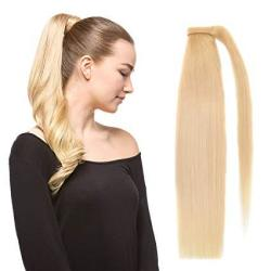 """Beauty Plus 18"""" Straight Wrap Around Ponytail Human Hair Extensions For Women 100GRAM Bleach Blonde 613"""