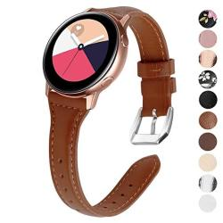 EZCO Compatible Samsung Galaxy Watch Active Bands galaxy Watch 42MM Gear Sport Bands 20MM Slim Genuine Leather Watch Strap Replacement Wristband Compatible Galaxy Watch