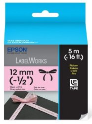 Epson Labelworks Ribbon Lc Cartridge 1 2-INCH Black On Pink LC-4PBK5