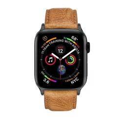 Colton James Leather Strap For Black space Grey 40MM Apple Watch - Tan