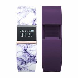 Itouch Ifitness Activity Tracker With Purple Marble Printed Strap And Bonus Purple Strap