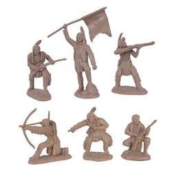 TSSD Plains Indian Warriors Plastic Army Men: 12 Piece Set Of 54MM Figures - 1:32 Scale