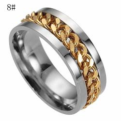Haoricu Men's Titanium Steel Chain Rotation Ring Cross Border Jewelry Ring Set For Best Friends Promise