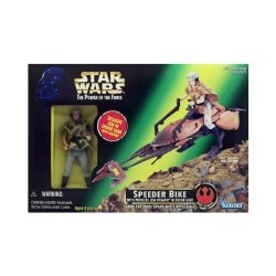 Star Wars - Power Of The Force - Speeder Bike With Princess Leia Organa In Endor Gear