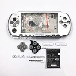 New Replacement Sony Psp 3000 Console Full Housing Shell Cover With Button Set -silver.