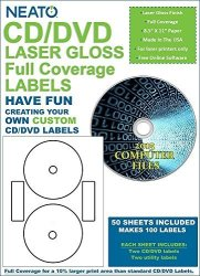 Cd dvd Laser Gloss Full Coverage Labels 50 Sheets Makes 100 Labels - Online Design Label Studio Included - Adhesive Made Specifically For Cds & Dvds