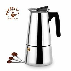 Stovetop Espresso Maker Moka Pot 9 Cup Italian Espresso Coffee Maker Stainless Steel Espresso Maker Machine For Full Bodied Coffee